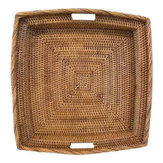 Vintage Palm Beach Wicker Serving Tray Basket For Sale