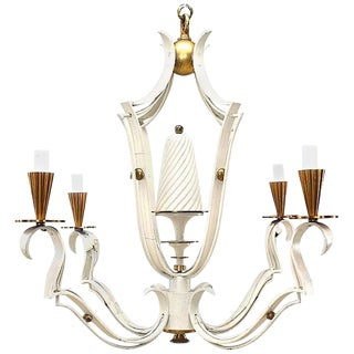 French 1940s White Painted and Brass Four-Light Chandelier For Sale