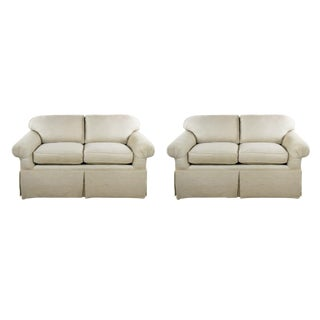 Contemporary Cream Love Seat Sofas - a Pair