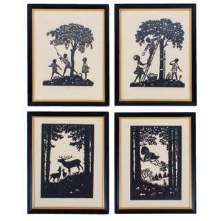 Scherenschnitte Silhouettes Children and Woodland Scene Artworks - Set of 4 For Sale
