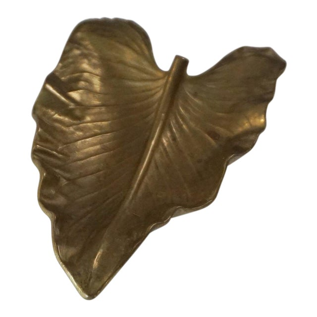 1940s Virginia Metalcrafters Large Brass Calla Lily Leaf Sculpture For Sale