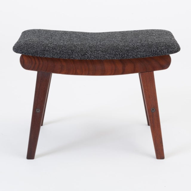 Scandinavian Modern Teak Ottoman With Upholstered Cushion For Sale - Image 4 of 13