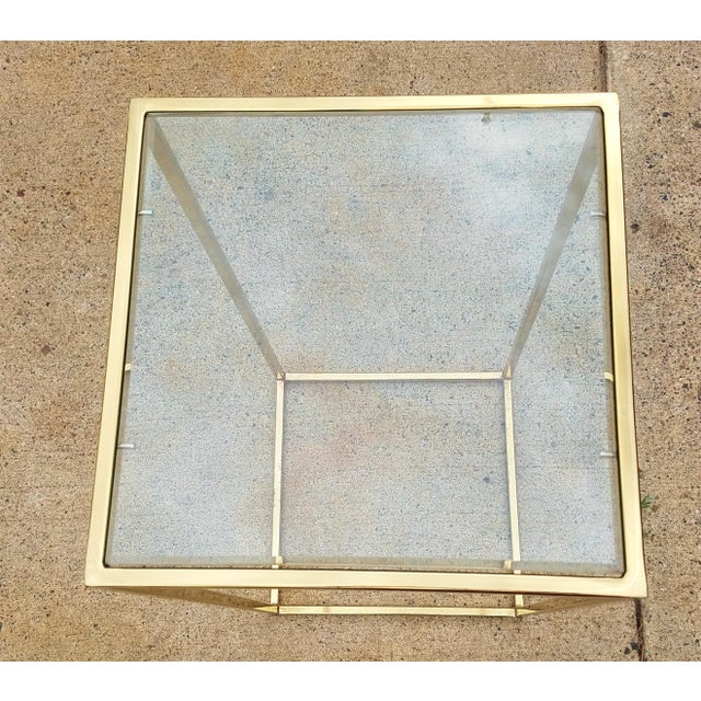 Milo Baughman Style Brass & Glass Pedestal Art Stand For Sale In Minneapolis - Image 6 of 7