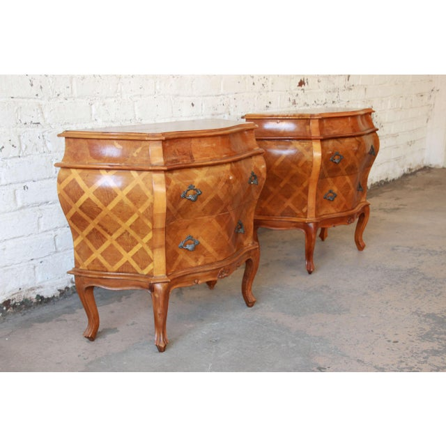 French Inlaid Italian Bombay Chest Nightstands - a Pair For Sale - Image 3 of 12