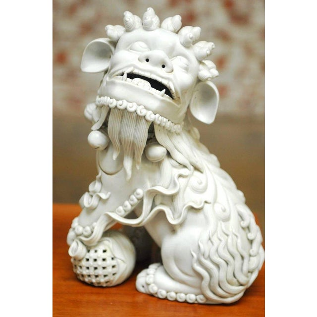 Asian Pair of Chinese Dehua Blanc de Chine Foo Dogs For Sale - Image 3 of 10