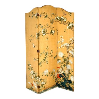 Chinese Hand Painted Three Panel Floor Screen For Sale