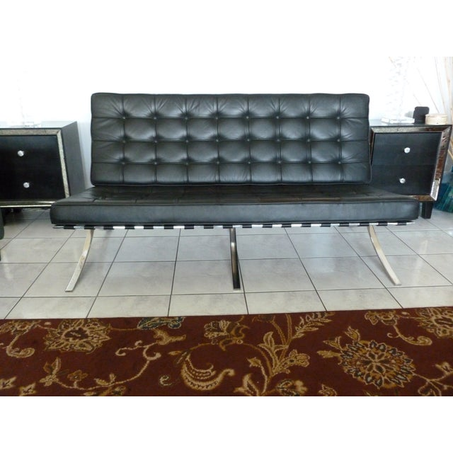1970s Mid-Century Barcelona Ludwig Mies Van Der Rohe Style Sofa For Sale - Image 5 of 5