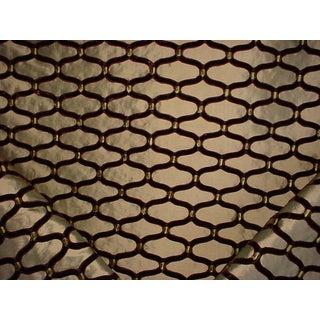 Kravet Couture 29862 Ogee Embroidered Green Tea Silk Velvet Upholstery Fabric- 5 Yards For Sale