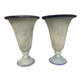 Vintage Monumental Cenedese Scavo Lamps - a Pair For Sale