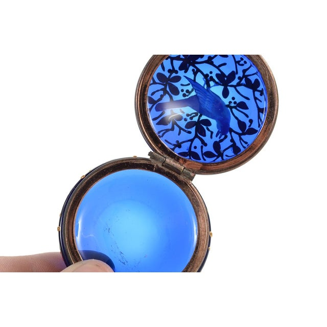 Cobalt Blue Glass Painted Antique Pill Box - Image 8 of 9