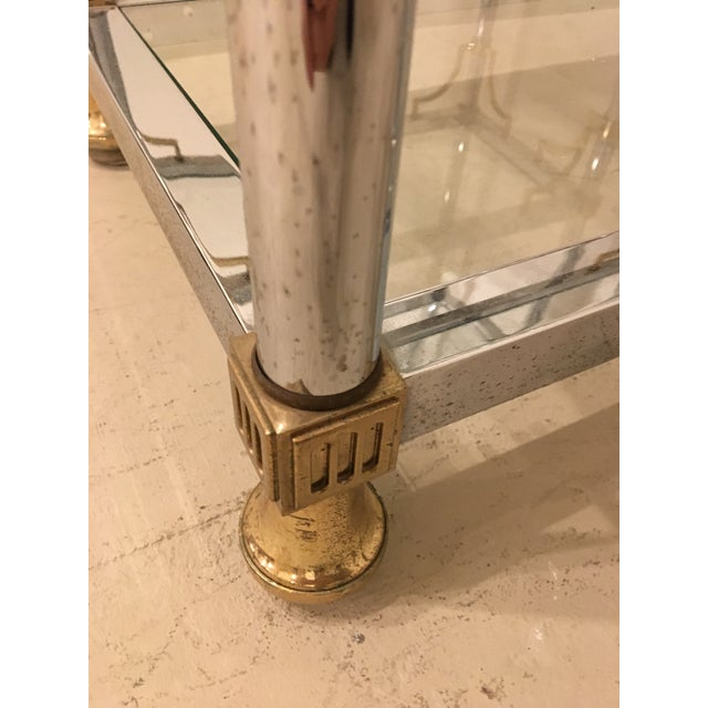 Gold Pair of Brass and Chrome Etageres For Sale - Image 8 of 11