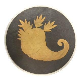 1950s Art Deco Waylande Gregory Gold Cornucopia Design Gray Plate For Sale