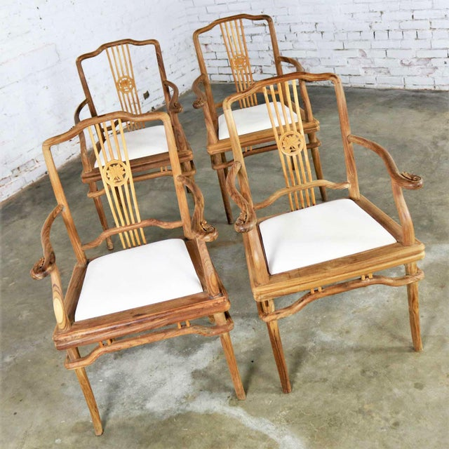 Tan Set of Four Natural Teak Indonesian Ming Style Dining Armed Chairs With Upholstered Seats For Sale - Image 8 of 13