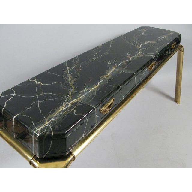 Mid-Century Modern Brass and Faux Marble Console Table by Widdicomb For Sale - Image 3 of 8