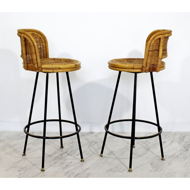 Bamboo Mid Century Modern Danny Ho Fong Set 4 Bamboo Rattan Iron Swivel Barstools 1960s For Sale - Image 7 of 8