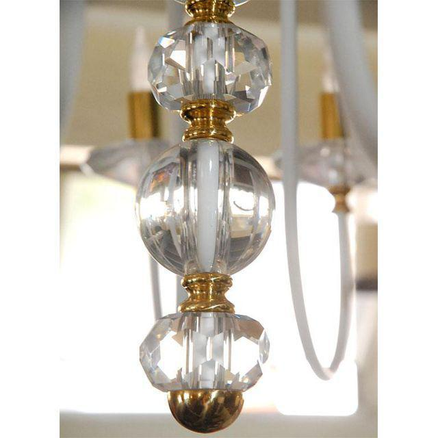 Brass White Painted and Brass Chandelier For Sale - Image 7 of 8
