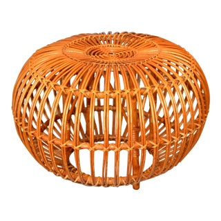 Vintage Franco Albini Hand-Woven Rattan / Wicker Ottoman Pouf For Sale