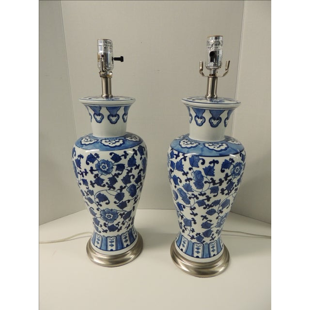 Vintage Blue & White Ceramic Lamps - Pair - Image 2 of 5