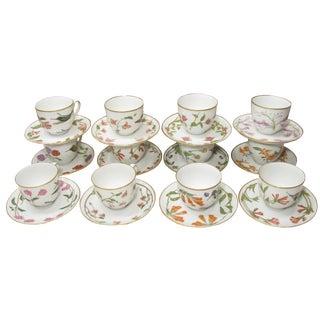 Colorful Hummingbird Porcelain Coffee or Tea Service, S/12 For Sale