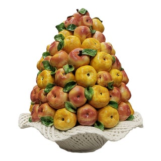 Mid 20th Century Italian Majolica Ceramic Reticulated Fruit Basket of Apples Topiary Centerpiece For Sale