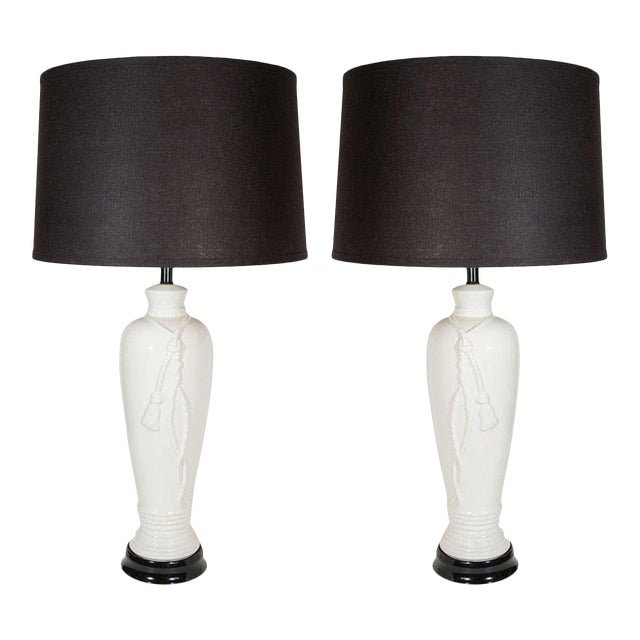 Pair of Hollywood Regency Ceramic Lamps With Rope and Tassel Design For Sale