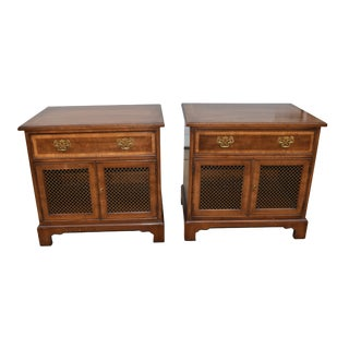 18th Century Henredon Walnut Chippendale Portfolio Nightstands- a Pair For Sale