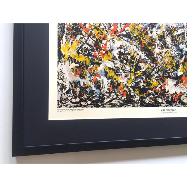 """Wood Jackson Pollock Rare Vintage 1964 Mid Century Modern Framed Abstract Expressionist Lithograph Print """" Convergence """" 1952 For Sale - Image 7 of 13"""