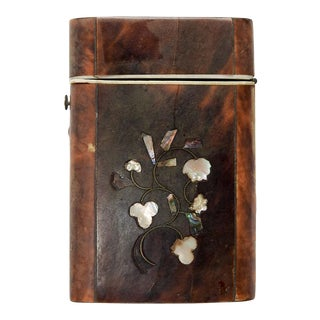 Antique Tortoise Shell Inlay Card Case For Sale