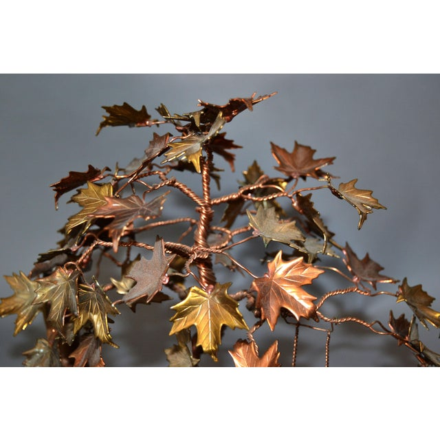 Metal Handcrafted Bonsai Tree Brass, Copper, Bronze Sculpture on Burl Wood Base For Sale - Image 7 of 13