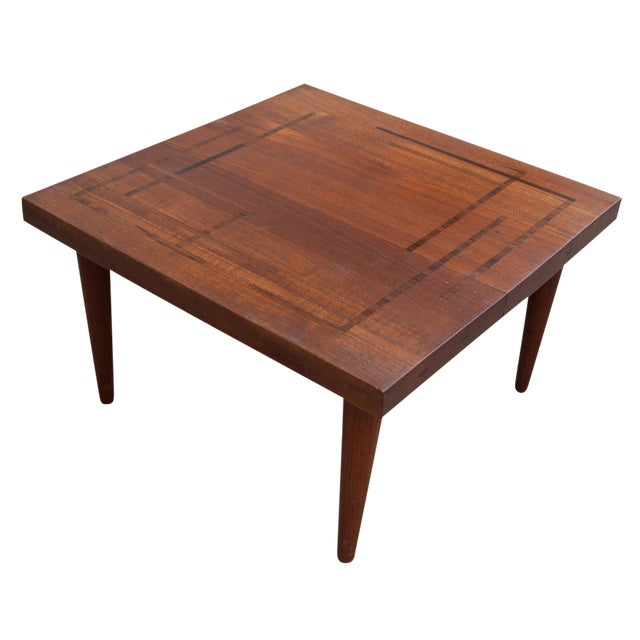 Circa 1960, Denmark, J. Schmidt Inlaid Rosewood and Teak Side Table For Sale