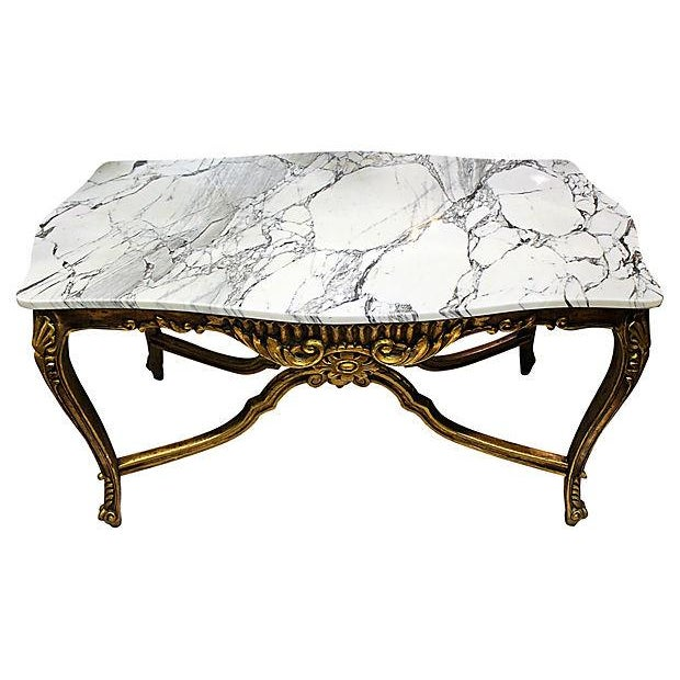 Italian Rococo Carved & Gilded Wood Console Table For Sale - Image 4 of 10