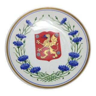 Blue Cornflower Golden Dragon Shield Upsala Ekeby Sweden Wall Plate For Sale