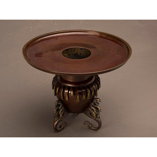 Circular Bronze Ikebana Container, Japan c. 1860 in two parts For Sale - Image 4 of 6