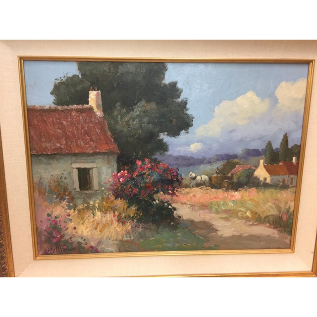 "Amazing painting by Stojan Milanov, titled ""Le Village"", retail years ago was 1350.00, In excellent condition, The..."