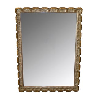 Antique Hand Carved Giltwood Scalloped Wall Mirror Florence, Italy For Sale