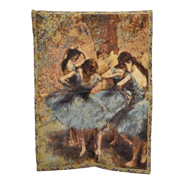 "35""x 25"" French Wall Hanging Tapestry Jacquard Ballet Dancers in Blue Edgar Degas For Sale"