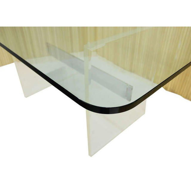 Mid 20th Century Mid Century Modern 3/4 Thick Glass Top Lucite Base Conference Dining Table For Sale - Image 5 of 9