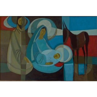 "1970s Ruth Salyer Osgood ""Holy Family"" Oil Painting For Sale"