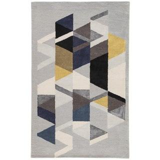 Jaipur Living Apex Handmade Geometric Light Gray/Multicolor Area Rug - 5′ × 8′