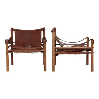 Arne Norell Rosewood and Brown Leather Safari Sirocco Chairs, Sweden, 1960s For Sale