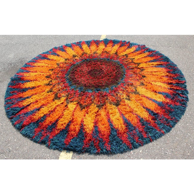 For your consideration is an incredible, large, shag, Rya style area rug or carpet, circa the 1970s. In excellent...