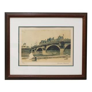 """Norman Rockwell """"Paris Bridge"""" Original Pencil Signed Lithograph C.1930s For Sale"""