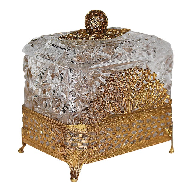 Hollywood Regency Glass Vanity Box - Image 1 of 7