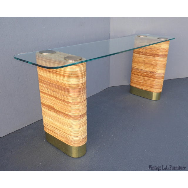 Vintage Mid-Century Double Pedestal Bamboo Rattan Wrapped Glass Top Console Table - Image 2 of 11