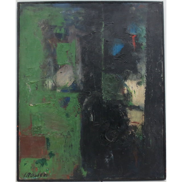 Vintage Green Abstract Painting by Rosien - Image 2 of 5
