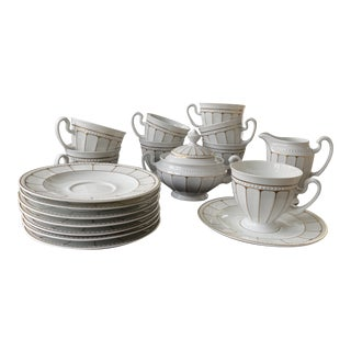 Tirschenreuth Hutschenreuther Art Deco Style Porcelain Cup and Saucer Set - 19 Pieces For Sale