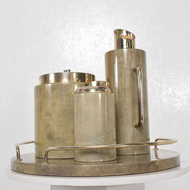 For your consideration a modernist bar set by Aldo Tura. Italy, circa the 1960s. Beautiful grey color with original...