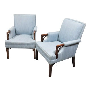 Chinese Chippendale Mahogany Faux Bamboo Library Chairs - a Pair