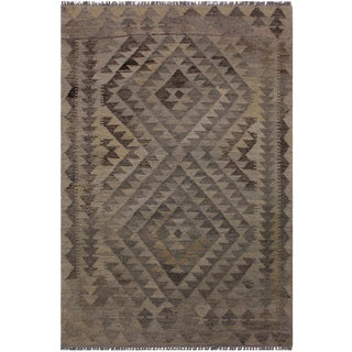 Contemporary Kilim Barrett Gray/Brown Hand-Woven Wool Rug - 2'9 X 4'3 For Sale
