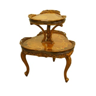 """1920's French Provincial Louis XVI Ornately Carved Tiered 27"""" Accent Table Preview"""